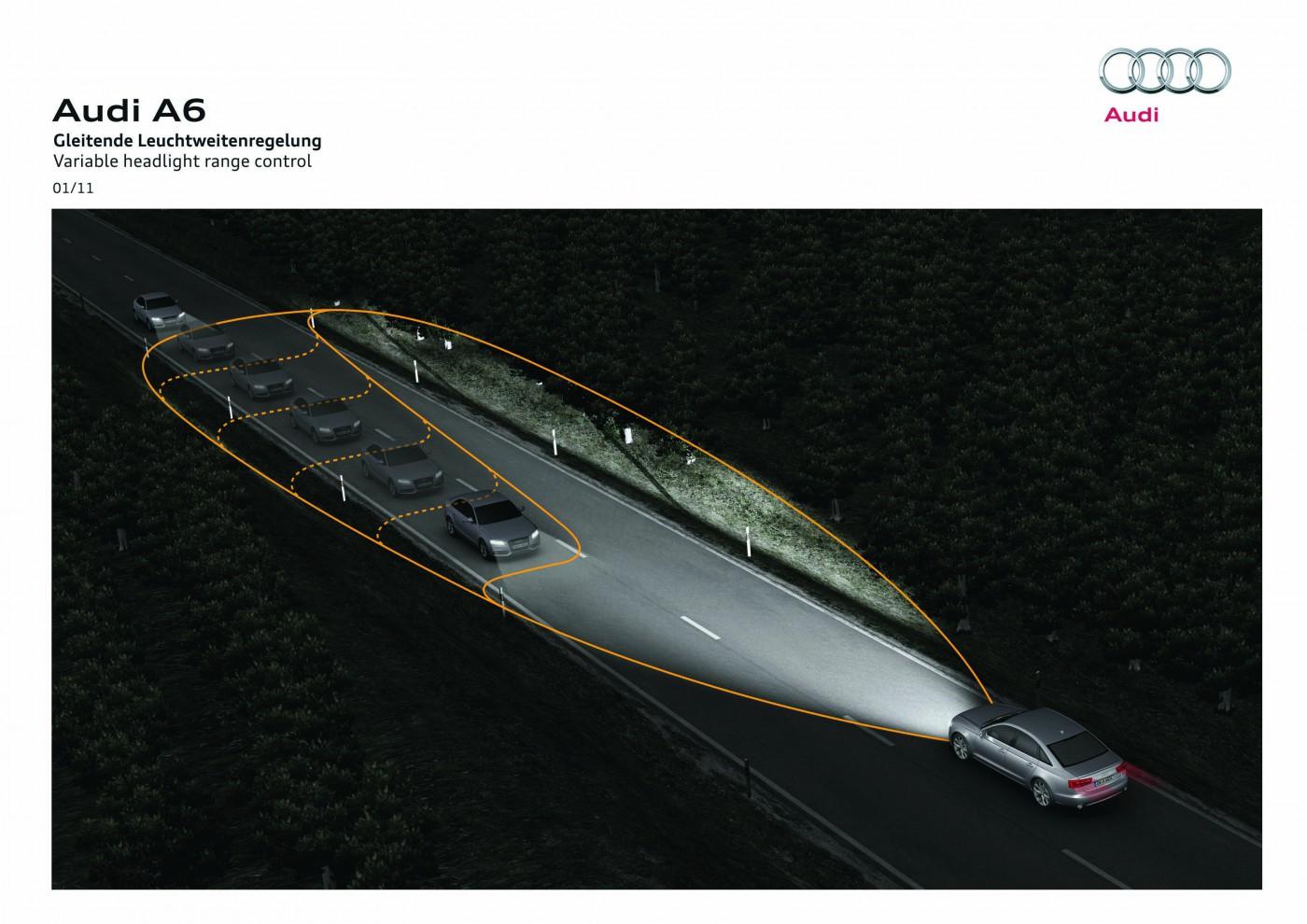Audi: Eine gleitende Leuchtweitenregelung wirkt dem Blenden des Gegenverkehrs entegegen.