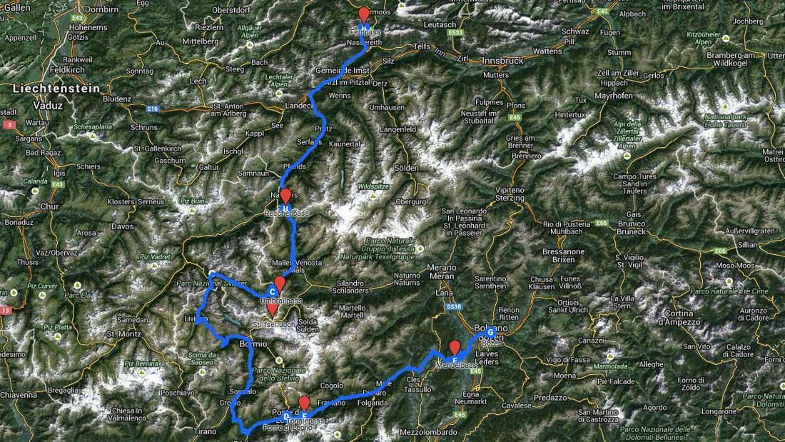 Cupra-Testroute: Reschenpass, Umbrailpass, Stilfser Joch, Tonalepass und Mendalpass